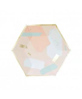 צלחות נייר מתומן קטנות- צבעי פסטל