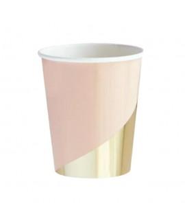כוסות נייר צבע פיץ' וזהב