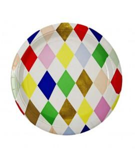 צלחות נייר מעויינים צבעוניים