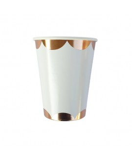 כוסות נייר לבנות בעיטור רוז גולד