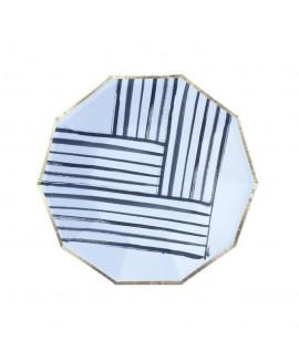 צלחות נייר מתומן קטנות- שחור לבן