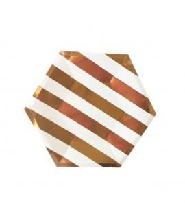 צלחות נייר משושה קטנות- פסים רוז גולד ולבן