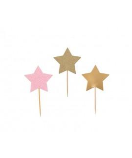 קיסמי נייר כוכב ורוד גליטר, זהב גליטר וזהב חלק