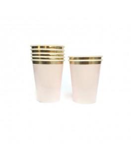 כוסות ורוד בהיר פס זהב