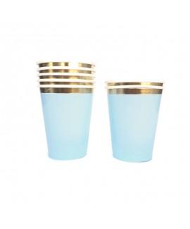 כוסות תכלת פס זהב