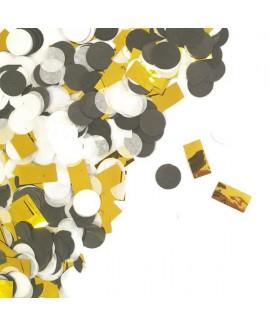 קונפטי נייר - שחור לבן זהב