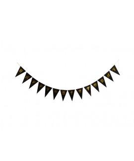 שרשרת דגלונים שחורה עם הטבעת Happy Birthday בזהב