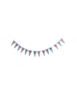 שרשרת דגלונים צבעי פסטל Happy Birthday