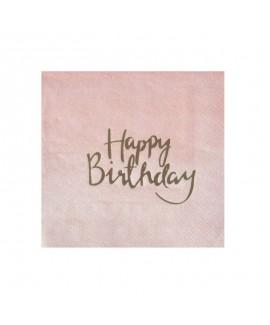 מפיות קוקטייל ורוד אומברה Happy Birthday