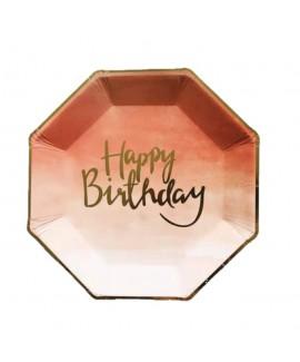 צלחות נייר מתומן ורוד- happy birthday