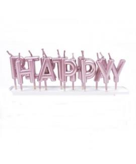 נרות Happy Birthday רוז גולד