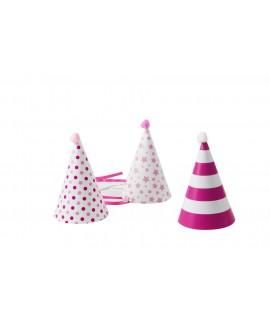 כובע מסיבה ורוד לבן קישוטים שונים