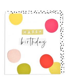 כרטיס ברכה יום הולדת - נקודות צבעוניות מרובע