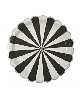צלחות נייר גדולות שחור לבן - Meri Meri