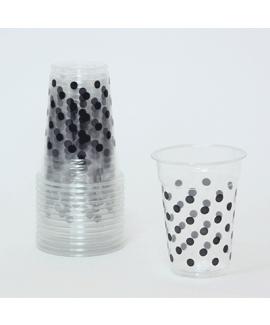 כוסות שקופות עם נקודות שחורות