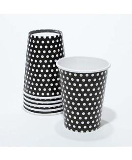 כוסות קרטון שחורות עם נקודות