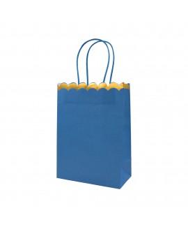 שקית נייר כחולה עם שוליים בזהב