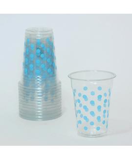 כוסות שקופות עם נקודות כחולות