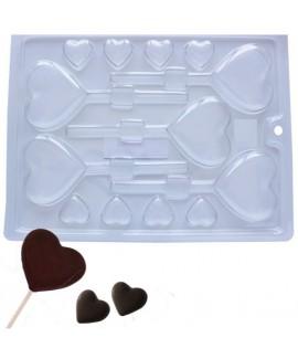 תבנית פלסטיק לשוקולד דגם לבבות