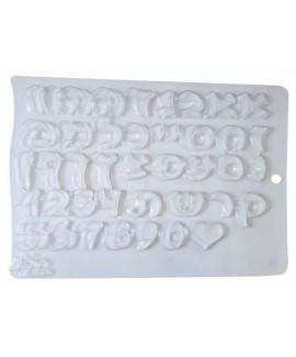 תבנית פלסטיק לשוקולד אותיות ומספרים עברית