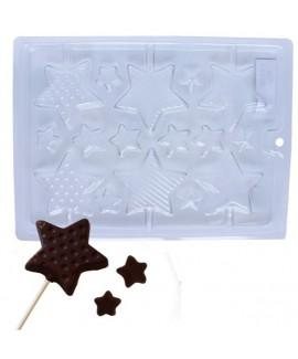 תבנית פלסטיק לשוקולד דגם כוכבים