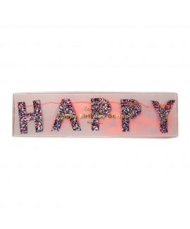 שרשרת צבעונית מנצנצת Happy Birthday