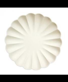 צלחות גדולות מסולסלות ידידותיות לסביבה - קרם - Meri Meri
