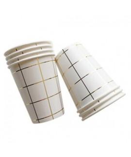 כוסות נייר לבנות עם משבצות רוז גולד