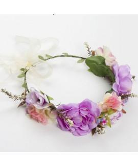 זר פרחים לראש- סגול ורוד
