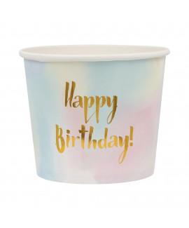 דלי מנייר בצבעי פסטל  Happy Birthday