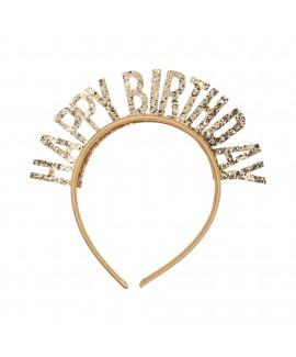 קשת Happy Birthday זהב נוצץ