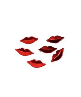 קונפטי שפתיים באדום מטאלי