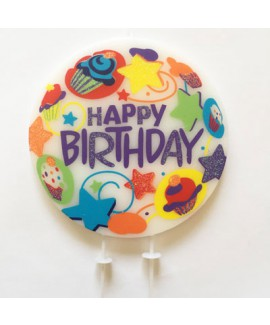 נר happy birthday עגול