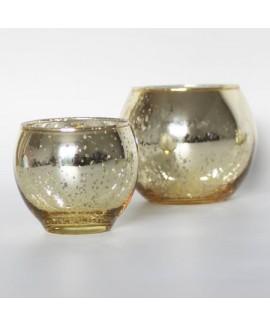 עששית זכוכית זהב עגולה - קטנה