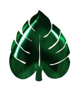 צלחות עלה ירוק מטאלי-Meri Meri