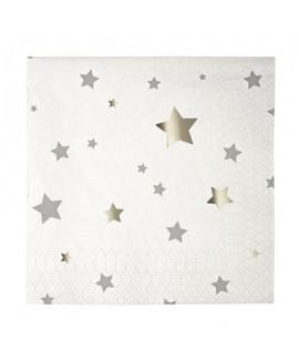 מפיות קוקטייל לבן כוכבים  - Meri Meri