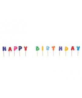 Happy Birthday נרות צבעוני מנוקד