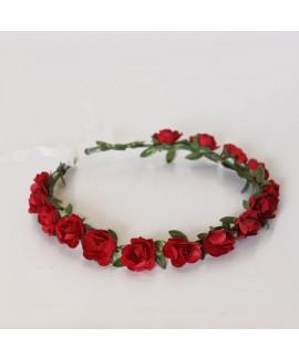 זר פרחים לראש צבע אדום