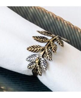חבק למפית קליפס עלים - זהב עתיק
