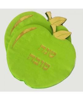 מפיות ירוקות בצורת תפוח עם עיטור זהב