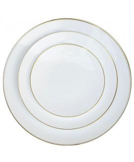 צלחות גדולות לבן עם פס זהב