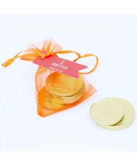 שקית אורגנזה עם 3 מטבעות שוקולד לחנוכה