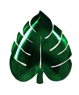 צלחות עלה ירוק מטאלי - Meri Meri