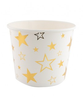 דלי מנייר לבן עם כוכבים בזהב