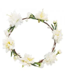 זר פרחים לבן לראש
