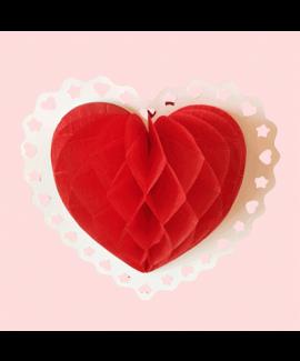 קישוט לתלייה בצורת לב אדום
