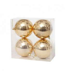 רביעיית כדורי קישוט זהב לכריסטמס