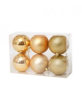 שישיית כדורי קישוט זהב