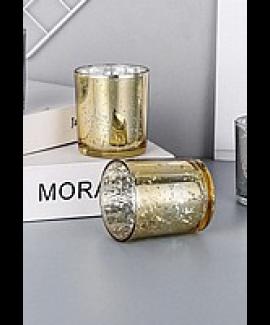 זוג עששיות זכוכית זהב קטנות