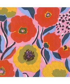 מפיות מרימקו- פרחים רקע ורוד